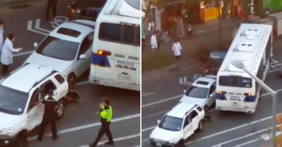 경찰 버스가 중앙선을 침범했다. [사진 독자]