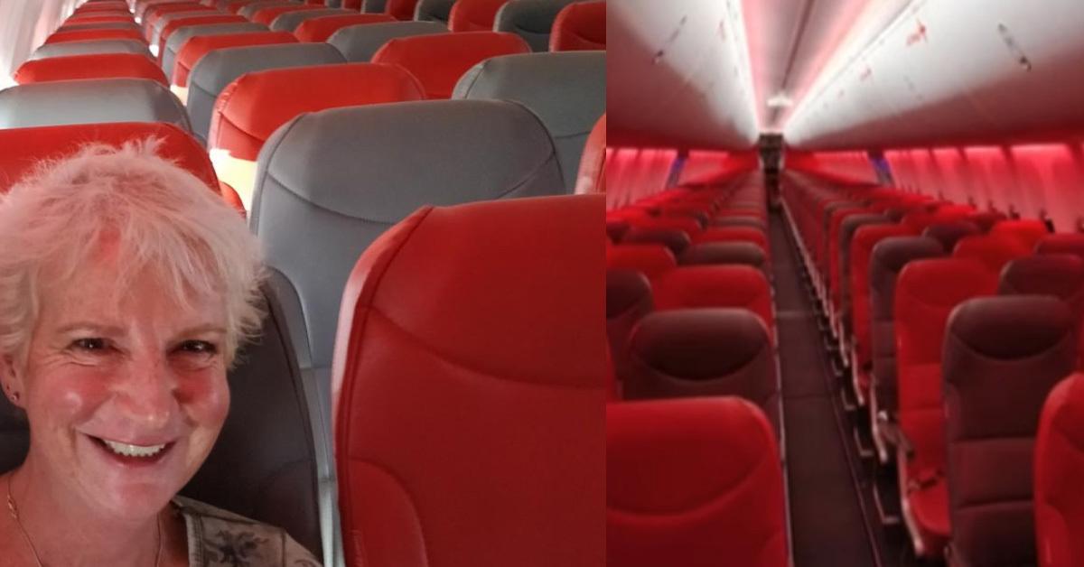 영국 스코틀랜드에 사는 작가 캐런 그리브가 지난 22일 스코틀랜드 글래스고에서 그리스 크레타 섬으로 가는 비행기에 혼자 탑승하게 된 사연을 자신의 SNS에 올렸다. [사진=캐런 그리브 트위터 캡처]