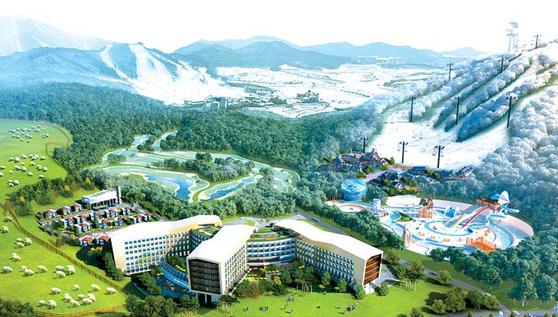 수익형 호텔 최초로 노화방지 의료센터가 들어서는 평창 라마다 호텔&스위트 조감도.
