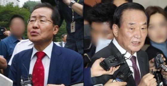 홍준표 자유한국당 대표(좌), 서청원 자유한국당 의원. [중앙포토]