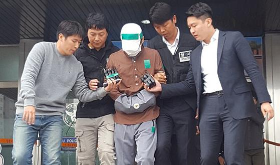 윤송이 사장 부친 살해 피의자, 영장실질심사 출석. [연합뉴스]