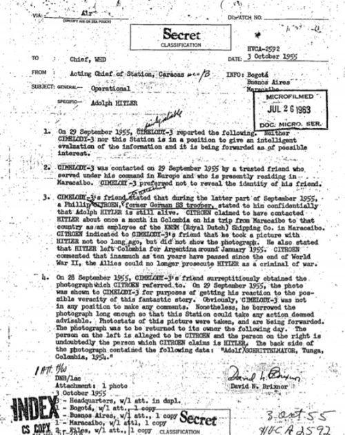 최근 기밀해제된 미국 CIA 정보원 문서에 히틀러가 1955년까지 콜럼비아에서 생존해있었다는 증언이 담겼다. [사진 미국 CIA 기밀문서 자료(https://goo.gl/iPvHX6)]