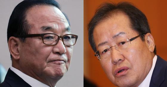 자유한국당 친박계 핵심인 서청원(왼쪽) 의원과 홍준표 대표 [뉴스1]