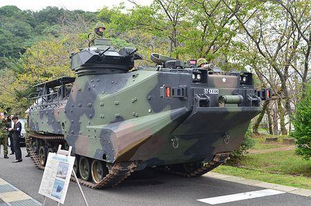 일본 육상자위대가 내년 신설하는 수륙기동단에 배치 예정인 AAV7 수륙양용차. [지지통신]