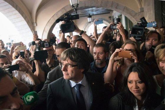 카를레스 푸지데몬 카탈루냐 자치정부 수반은 스페인 검찰의 반역죄 기소를 피해 벨기에로 피신했다. [EPA]