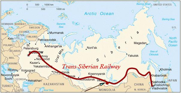 시베리아 철도 노선.