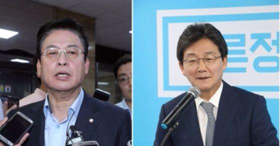 정우택 자유한국당 원내대표(좌), 유승민 바른정당 의원. [중앙포토]