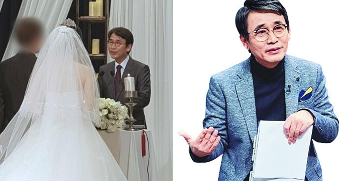 지난 주말 결혼식 주례로 등장한 유시민 작가(왼쪽). [사진 온라인 커뮤니티 등]
