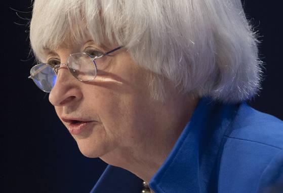 지난달 15일 재닛 옐런 연준 의장이 G30 국제 은행 회의에 참석해 발언하고 있다. [AFP=연합뉴스]