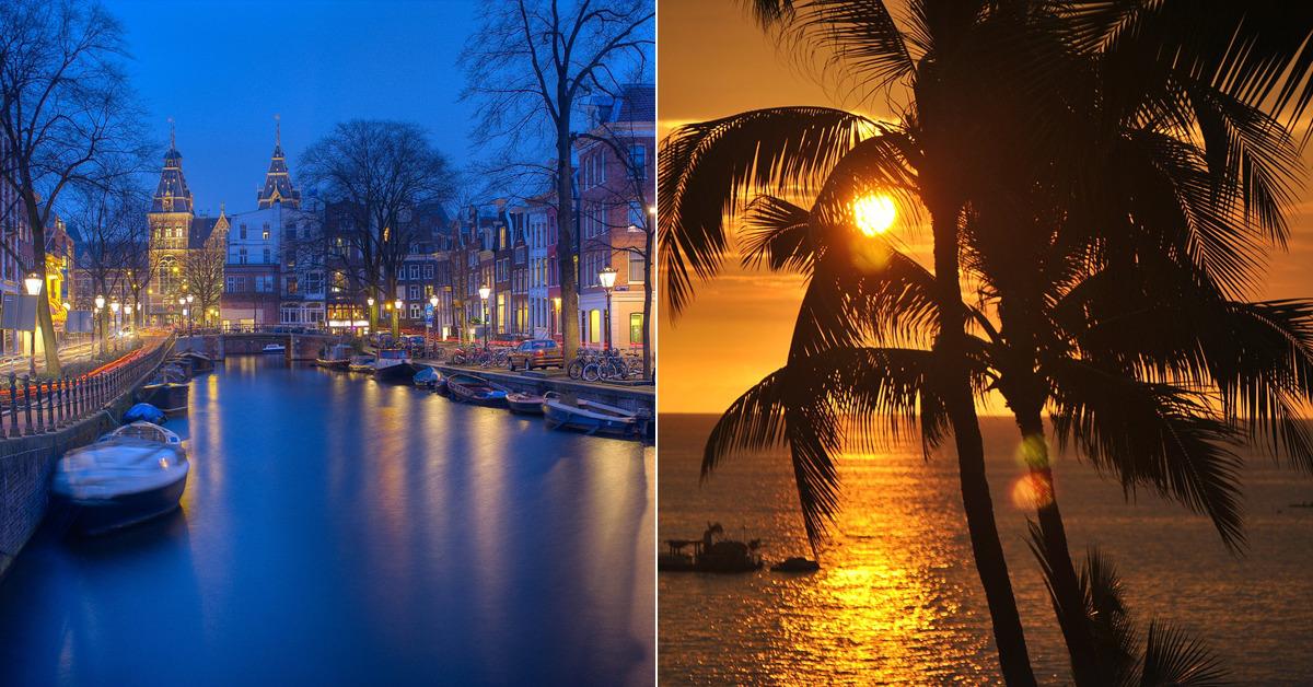 암스테르담(좌), 하와이(우). [무료 이미지]