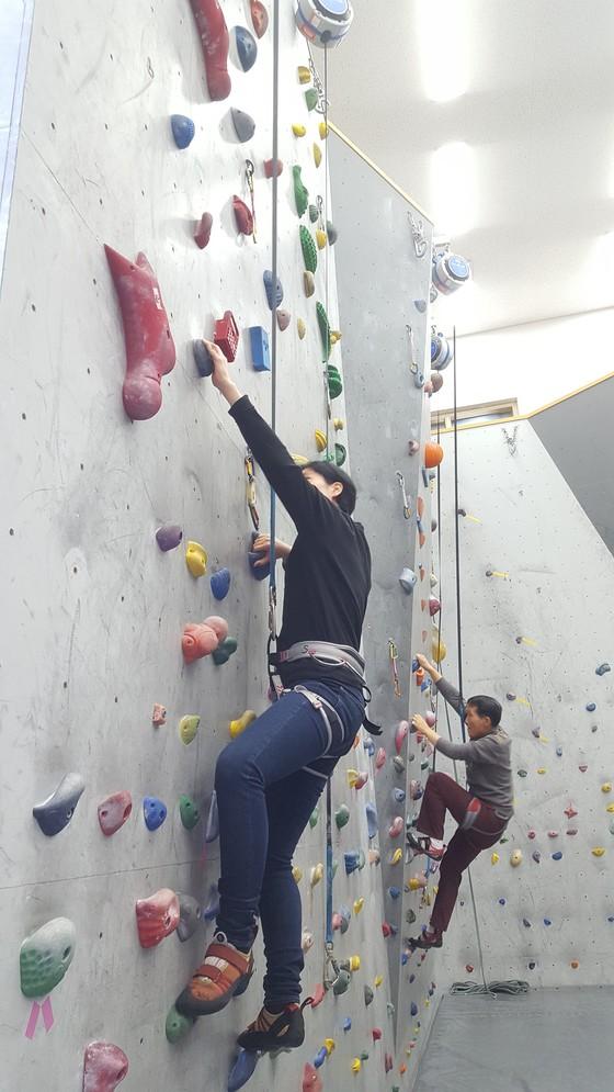 울산 영남알프스 국제클라이밍센터에서 직접 암벽 등반을 해봤다. 인공 암벽 등반은 체력과 정신력을 키우는 데 큰 효과가 있다고 한다. 잘 올라가고 있는 듯 보이지만 몹시 긴장한 상태다. [사진 국제클라이밍 센터]