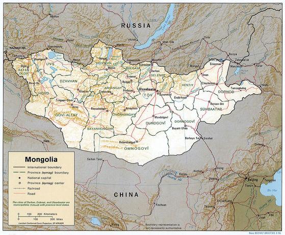 외몽골 지도. 현재의 몽골 공화국이다.