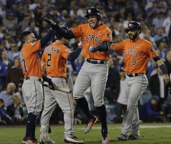 휴스턴 애스트로스가 MLB 월드시리즈 7차전 경기에서 LA다저스를 5대 0으로 제치고 월드시리즈 최종 우승을 차지했다. [사진 AP=연합뉴스]