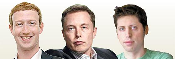 왼쪽부터 마크 저커버그 페이스북 최고경영자(CEO), 일론 머스크 테슬라 CEO, 샘 알트먼 Y콤비네이터 대표.