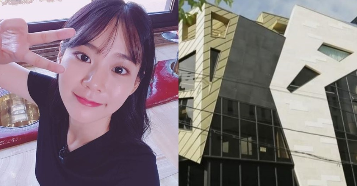 Han Seung-yeon, a former member of the now-disbanded K-Pop group, KARA, and her building (right).