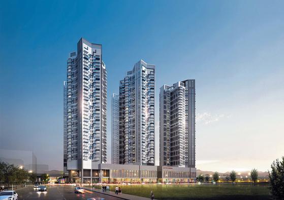 현대산업개발이 경기도 남양주 별내신도시에서 11월 3일 선보일 예정인 주거 가능 생활숙박시설인 별내역 아이파크 스위트 투시도.