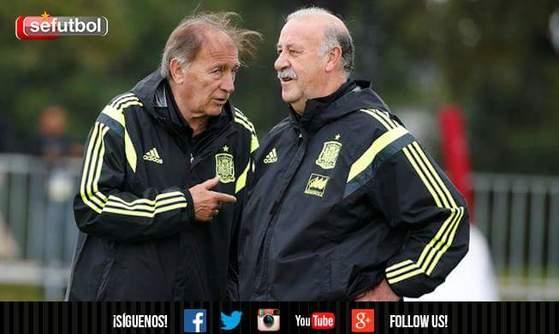 2014 브라질월드컵 당시 비센테 델 보스케 스페인대표팀 감독을 보좌한 토니 그란데(왼쪽) 코치. [사진 스페인축구협회 페이스북]