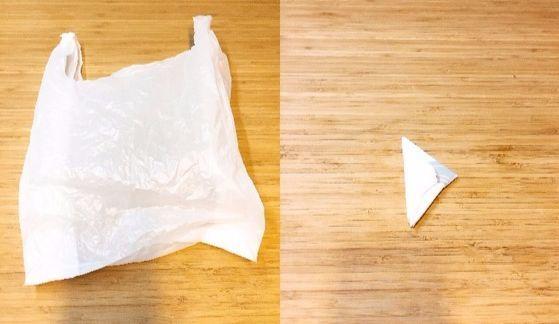 커다란 비닐봉지를 작게 접어 보관하면 부엌 공간이 넓어지고 보기도 좋다. 큰 비닐(사진 왼쪽)을 삼각형 모양(오른쪽)으로 접었다.