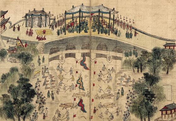 1760년 3월 10일 영조는 오간수문에 나가 숙원사업이던 청계천 준설 작업을 참관하고 인부들에게 음식을 베풀며 격려했다. 그때 그린 그림인 '수문상친림관역도(水門上親臨觀役圖)'. [부산시립박물관 소장]