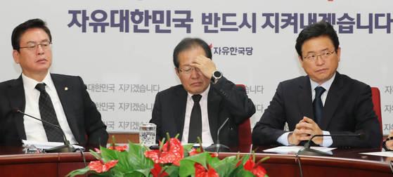 박근혜 전 대통령 제명 처리를 논의하기 위한 자유한국당 최고위원회의가 3일 열렸다. [연합뉴스]