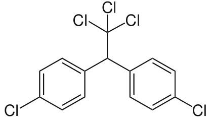 DDT의 분자구조. 염소(Cl) 성분이 들어있는 유기염소계 살충제다.