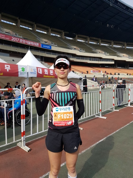 중앙서울마라톤 마스터스 부문 여자 1위를 차지한 홍서린 씨