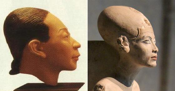 예안리 유적에서 발굴된 두개골을 복원시킨 모습, 네페르티티의 동상.