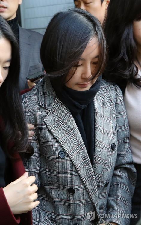 8일 서울중앙지법에서 열린 결심공판이 끝난 뒤 귀가하는 장시호씨.[연합뉴스]