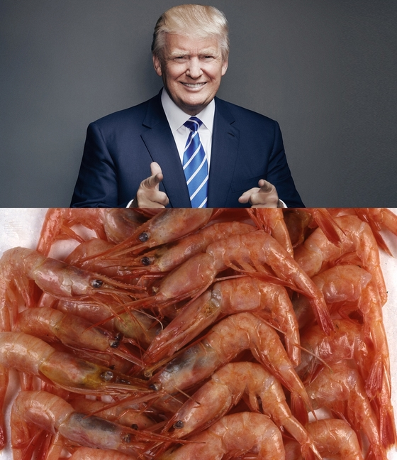 도널드 트럼프 미국 대통령은 공교롭게 한국과 일본 모두에서 새우 요리를 먹었다. [중앙포토]