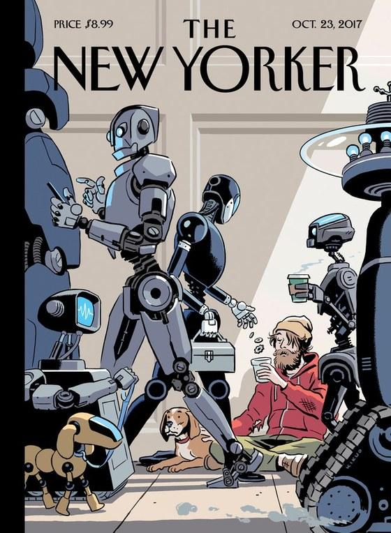 2017년 10월23일자 '더뉴요커'는 커버 스토리로 AI와 로봇이 활성화 된 미래의 모습을 다뤘다. 표지 그림에선 분주히 도시의 삶을 살고 있는 AI 로봇과 구걸을 하는 사람의 모습이 대조적으로 그려졌다. [더뉴요커 홈페이지]