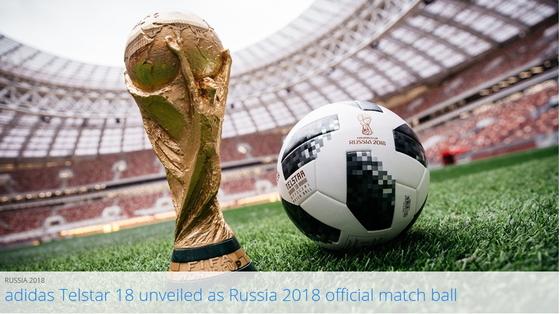 국제축구연맹과 아디다스는 10일 러시아 월드컵 공인구 텔스타 18을 공개했다. [사진 FIFA 홈페이지]