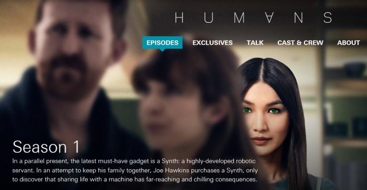 영국 Channel 4와 미국의 AMC가 2015년 방영한 드라마. 휴머노이드가 일상화 된 미래 사회를 그렸다. 오른쪽은 드라마의 주인공인 여성 로봇 '아니타'. [AMC]