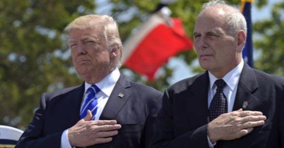 도널드 트럼프 미국 대통령과 존 켈리 미국 백악관 비서실장. [사진 AP=연합뉴스]