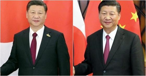 4개월 전 아베 신조 일본 총리를 만났을 당시 시진핑 중국 국가주석의 모습(왼쪽)과 11일 중일 정상회담에서 시 주석.