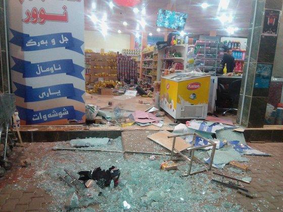 지진으로 피해를 본 이라크 할아브자의 가게. [사진 루다우]