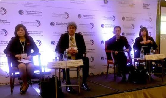 수전 디매지오 뉴 아메리카재단 국장(오른쪽 첫번째)이 지난달 19~22일 러시아 모스크바에서 열린 비확산회의에서 최선희 북한 외무성 북미국장(왼쪽 첫번째)과 토론하고 있다.[트위터]