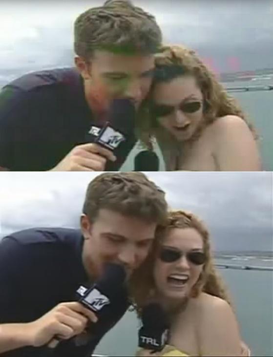 밴 애플렉은 지난 2003년 MTV의 프로그램에 출연해 힐러리 버튼에게 다가가 갑자기 몸을 만졌다. [사진 유튜브 영상 캡처]