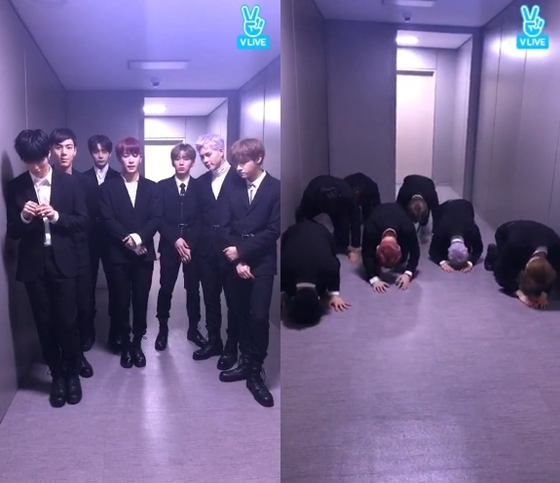 MONSTA X bowing to their fans [from V LIVE]