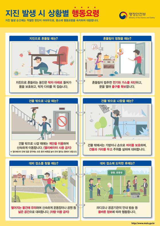 행전안전부가 발표한 지진 대피요령. [사진 행안부]
