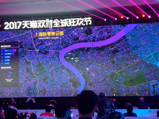 상하이의 지역별 실시간 판매 현황을 보여주는 알리바바의 빅데이터 기술 [출처: 차이나랩]