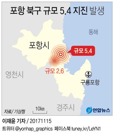 포항 지진 발생 지점. 연합뉴스