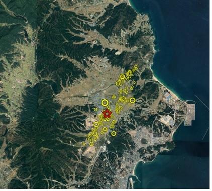 11월 16일 11시 현재 포항 지진 초기 여진 분석 현황 [사진 한국지질자원연구원]