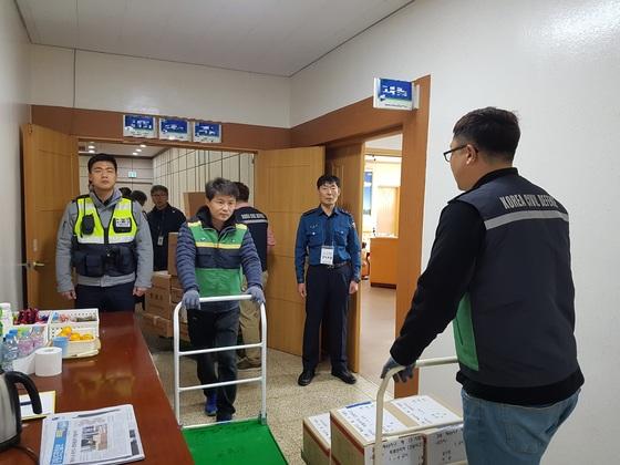 춘천교육지원청으로 회송되고 있는 수능 시험지. 박진호 기자