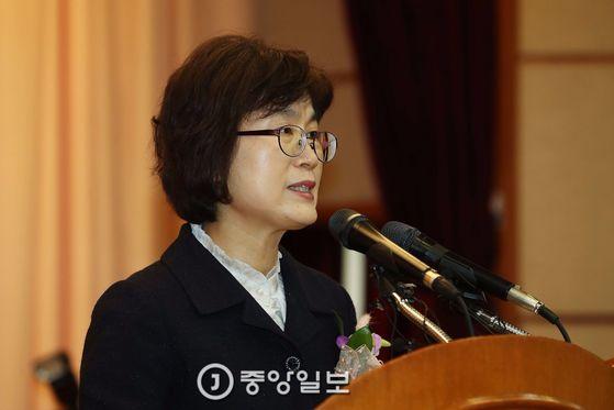이정미 전 헌법재판관. 사진은 지난 3월 퇴임식 때의 모습. [중앙포토]