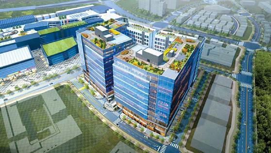 각각의 건물 안에 지식산업센터·근린생활시설·기숙사를 갖춘 다산신도시 블루웨일 조감도.