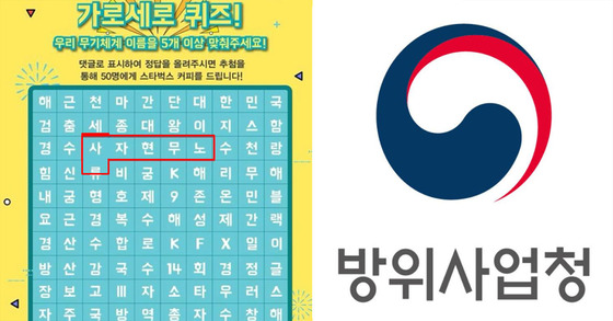 방위사업청이 지난 16일 공식 소셜네트워크서비스(SNS)를 통해 진행한 퀴즈 이벤트.