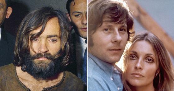 찰스 맨슨(왼쪽)과 그의 살인 피해자 샤론 테이트(가장 오른쪽), 샤론 테이트는 유명 영화감독 로만 폴란스키(가운데)의 부인이었다. [AP, AFP=연합뉴스]
