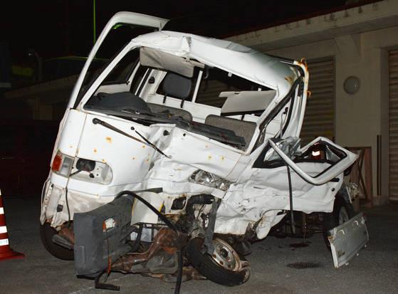 19일 음주운전으로 일본인을 사망하게 한 주일 미군이 운전한 트럭[AP=연합뉴스]