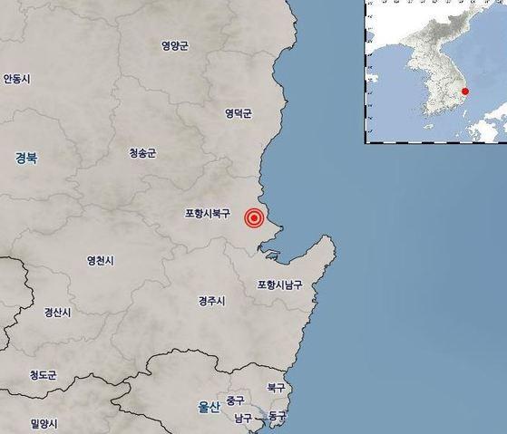20일 오전 6시 5분 경북 포항시 북구 북쪽 11km 지역에서 규모 3.6의 지진이 발생했다. [사진 기상청]