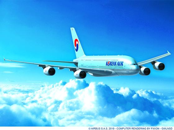 대한항공이 운영중인 항공기 A380의 모습. [중앙포토]